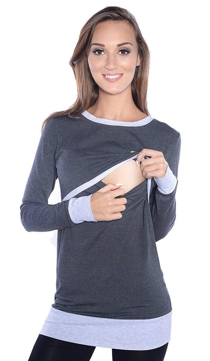 """Wygodna bluzka 2 w 1 ciążowa i do karmienia na co dzień """"Mandy"""" długi rękaw 9048 grafit/melanż"""