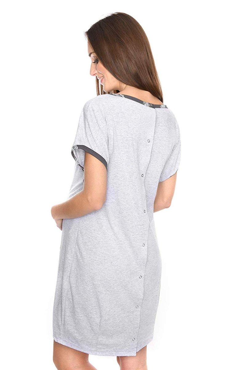 MijaCulture - koszula do porodu 4123 melanż 3