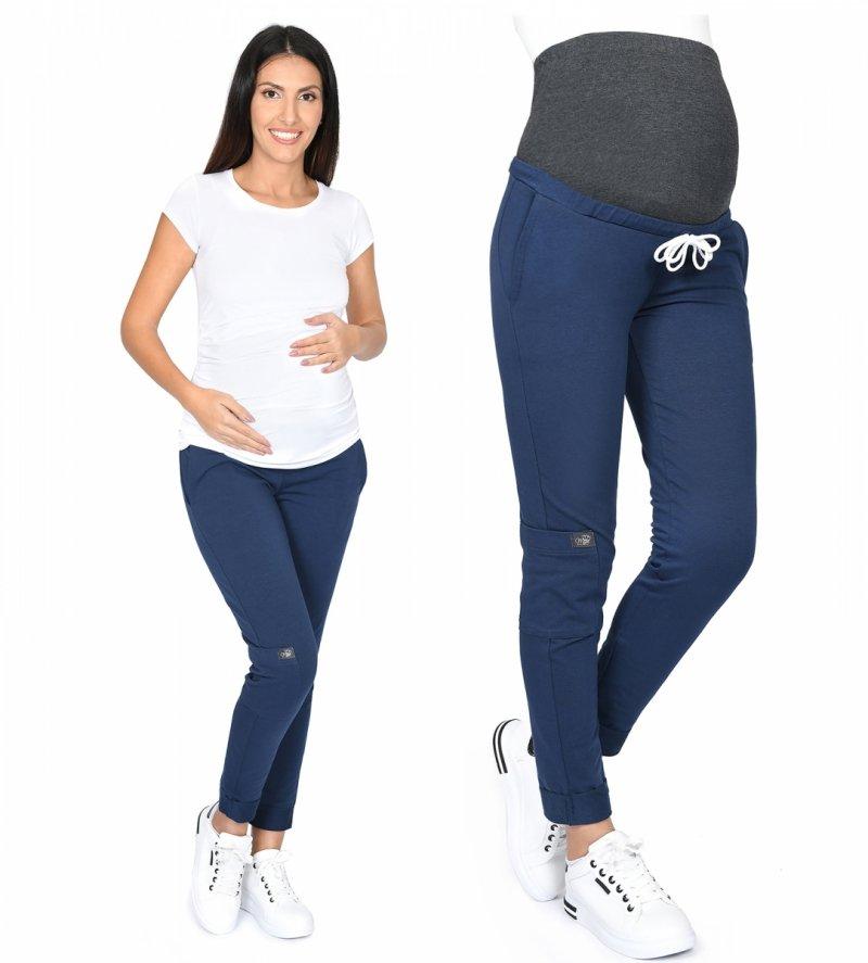 MijaCulture Wygodne spodnie dresowe ciążowe ZOE M002 granat