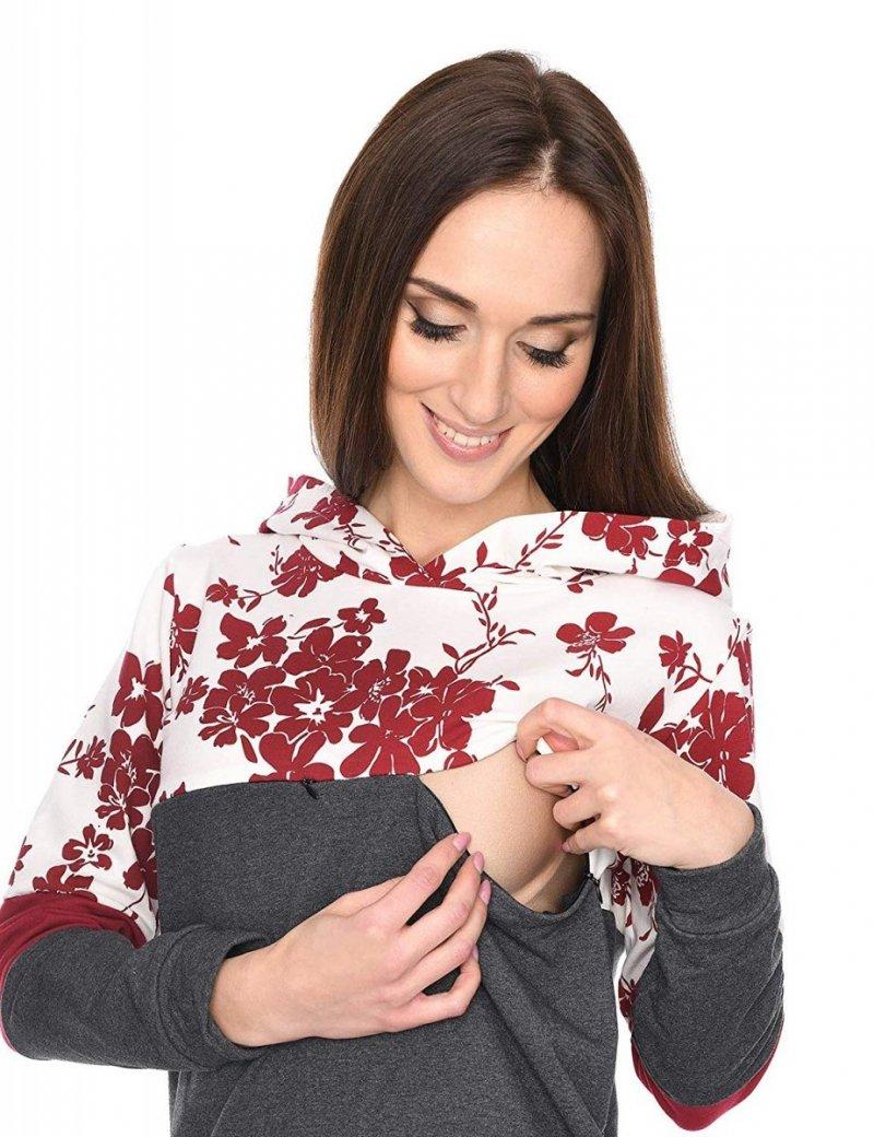 """MijaCulture - 3 w 1 bluza ciążowa i do karmienia """"Jane"""" 7144 grafit/bordo"""