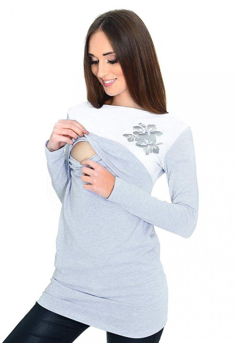 Praktyczna bluzka ciążowa i do karmienia Kwiaty 9088 melanż 1