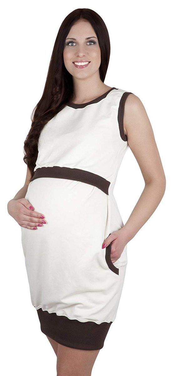 """MijaCulture - 2 w1 sukienka ciążowa i do karmienia  """"Fiona"""" 7111  ecru/brąz"""