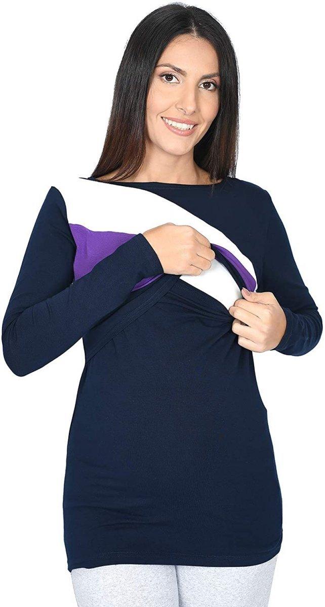 Praktyczna bluza ciążowa i do karmienia Paski 9088 granat/biały/fiolet2