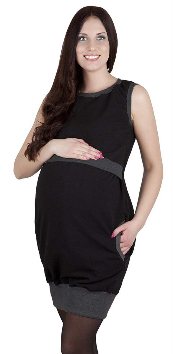"""MijaCulture - 2 w1 sukienka ciążowa i do karmienia  """"Fiona"""" 7111  czarny/melanż"""
