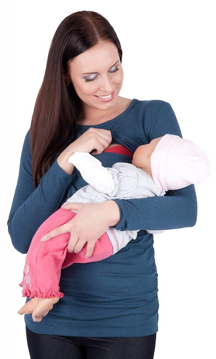 MijaCulture - bluzka 2 w 1 ciążowa i do karmienia długi rękaw M01/3070 niebieski