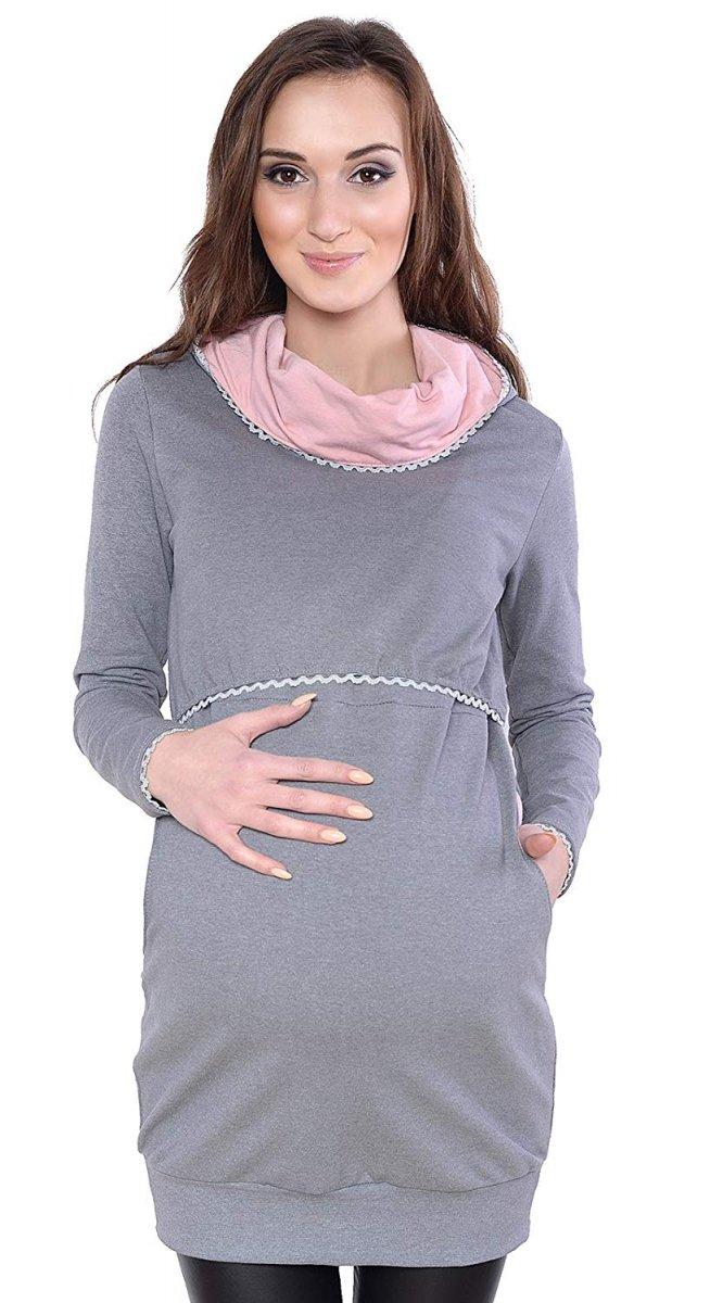 """MijaCulture - 3 w 1 bluza ciążowa i do karmienia """"Ellie"""" 7129 szary/róż"""