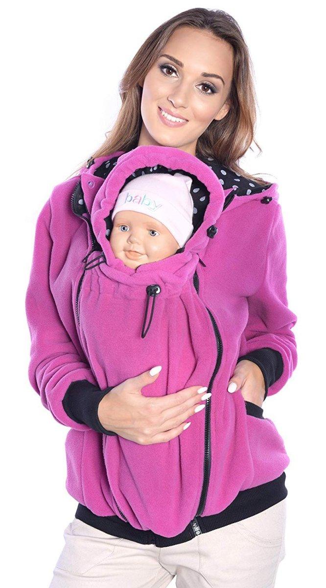 MijaCulture - 3 w1 bluza polarowa 3D ciążowa i do noszenia dziecka  4047/M51 różowy
