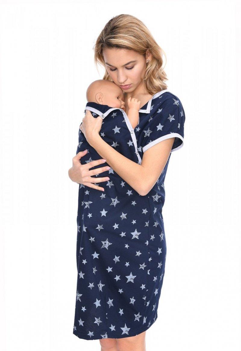 MijaCulture - koszula do porodu 4123 granat/gwiazdki1