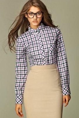 Koszula w modną kratę - fiolet - K37