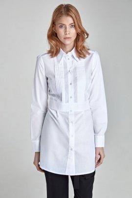 Modna przedłużana koszula z zakładkami HIT - biały - K19