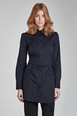 Modna przedłużana koszula z zakładkami HIT -  czarny - K19