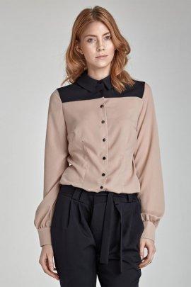 Dwukolorowa koszula - beż - B29