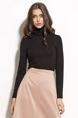 Elegancka bluzka z golfem - czarny - B50