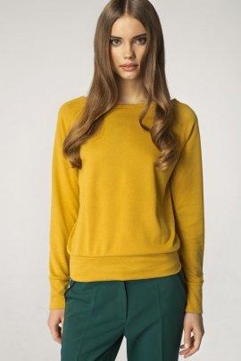 Sweter z dekoltem w łódkę - żółty - SW01