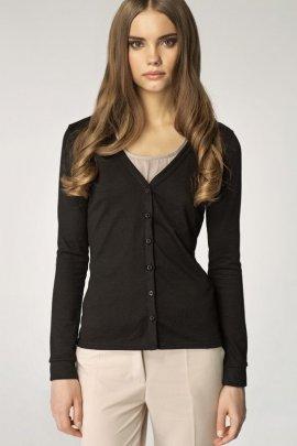 Sweter zapinany na guziki w serek - czarny - SW04