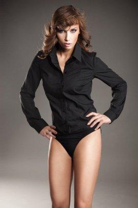 Klasyczna koszula body - czarny - K22
