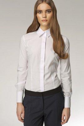Koszula z krytym zapięciem - biały - K31