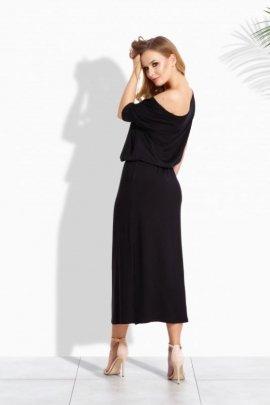 EM104 Luźna długa sukienka z kieszeniami czarny