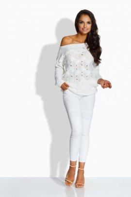 LS191 Kobiecy sweter z uroczymi dziurkami biały
