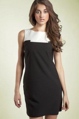 Czarująca sukienka dwukolorowa - czarny - S25