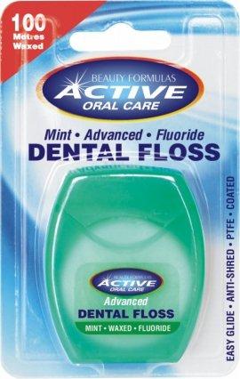 Beauty Formulas Active Oral Care Nić dentystyczna udoskonalona miętowa woskowana z fluorem