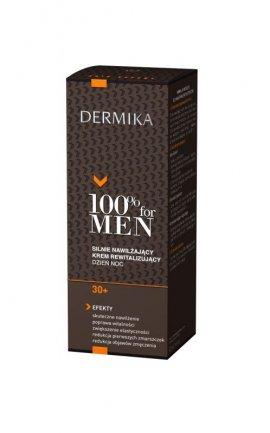 Dermika 100% for Men Krem 30+ silnie nawilżający i rewitalizujący na dzień i noc  50ml