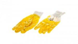 Rękawice z lekkiego Nitrylu na wkładzie z dżerseju, góra wentylowana biało-żółte rozmiar 9 NI01509