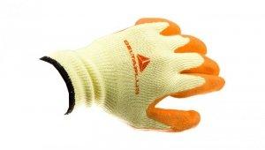 Rękawice dziane z poliestru i bawełny, dłoń i końce palców powlekane Lateksem, ścieg 10 żółto-pomarańczowe rozmiar 9 VE730OR09