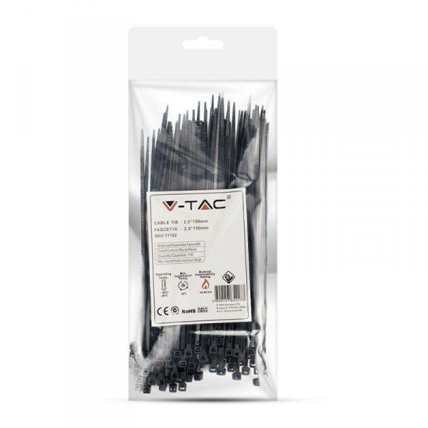 Opaska Zaciskowa V-TAC 2.5x150mm Czarna 8kg Nylon66 (Opak. 100szt)
