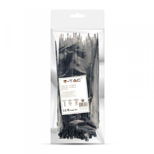 Opaska Zaciskowa V-TAC 3.5x200mm Czarna 18kg Nylon66 (Opak. 100szt)