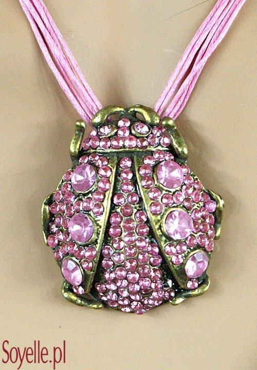 COCCINELLA naszyjnik w formie zwierzątka - biedronki, różowe