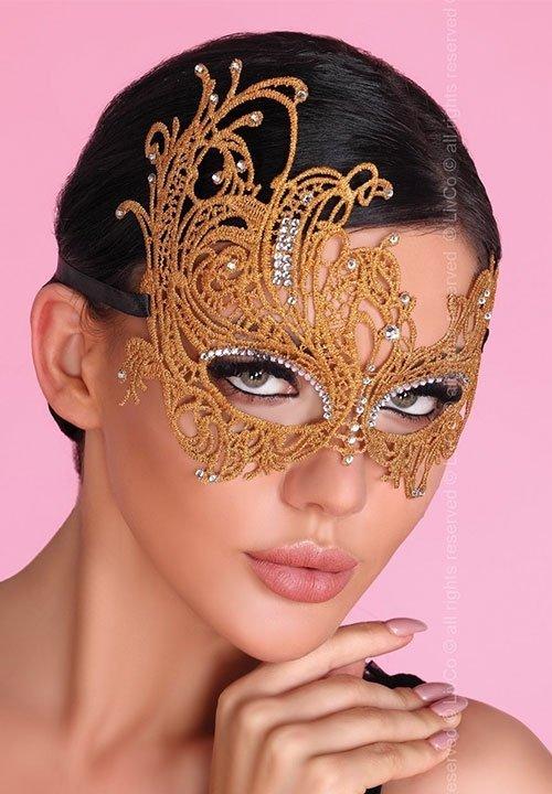 MASKA złota maska na twarz, zdobiona cyrkoniami