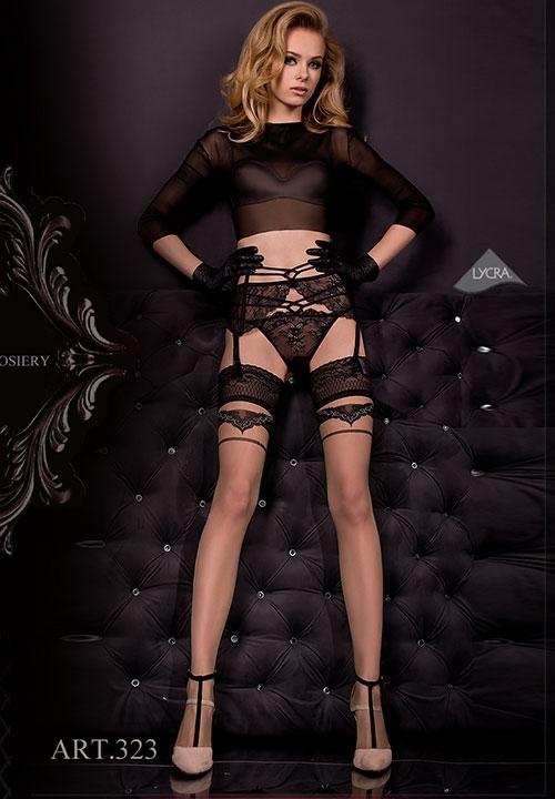 BALLERINA 324 koronkowy, czarny pas do pończoch + stringi