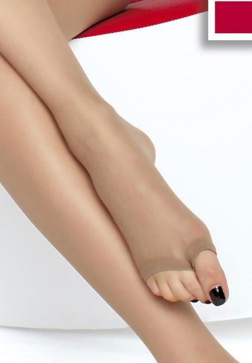 EVELINE rajstopy bez palców, do japonek, sandałów, gładkie, zakładane na palec cienkie 15 den beżowe, czarne