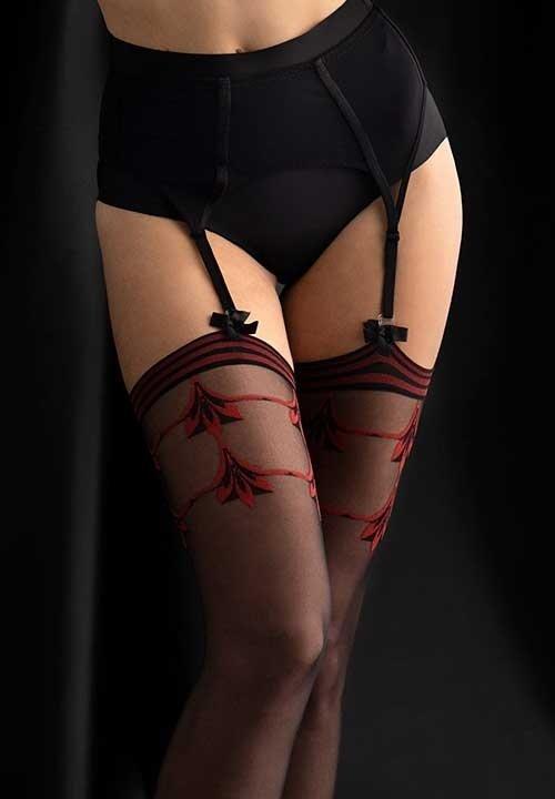 INTENSE czarne pończochy do pasa, z czerwonymi wzorami