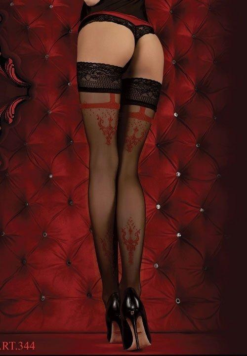 BALLERINA 344 RED czarne pończochy z czerwonym wzorem