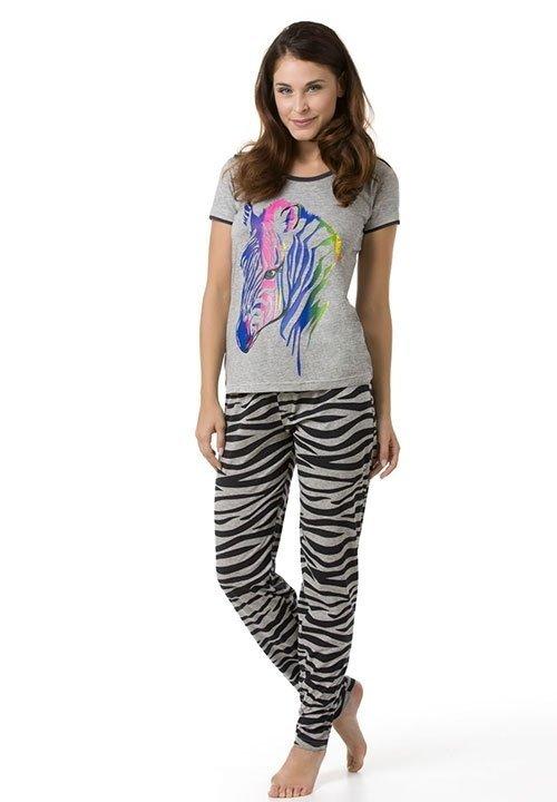 ZEBRA BLACK szara piżama z krótkim rękawem, spodnie w zebrę, kolorowa zebra
