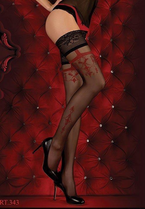 BALLERINA 343 RED czarne pończochy z czerwonymi wzorami