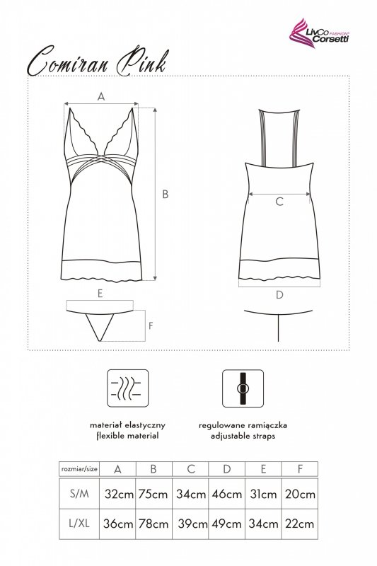 COMIRAN PINK różowa haleczka w kropki  L/XL