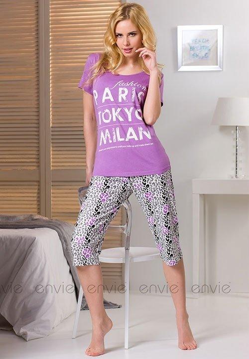 CITY VIOLET bawełniana piżama z krótkim rękawem, koszulka jasny fiolet