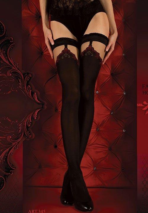 BALLERINA 345 RED czarne pończochy z beżową górą, czerwone wzory