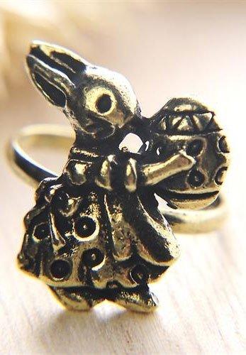KRÓLIK z JAJEM P38 pierścionek z króliczkiem, ciemne złoto, regulowany obwód