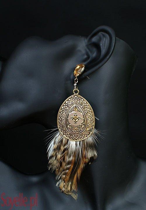 Kolczyki 012 duże owale, stare złoto i nakrapiane piórka