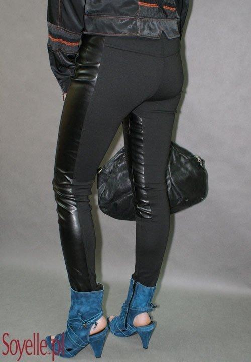 DIANA spodnie skóra ekologiczna łączona z dzianiną czarne wąskie rurki