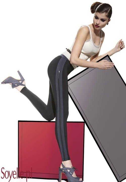 SIMONE ciepłe legginsy z zamkami na bokach, dwukolorowe, plusz od środka