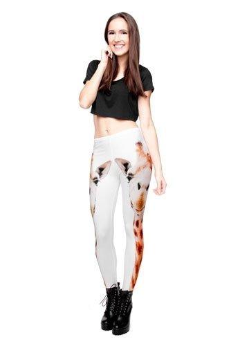 GIRAFFE białe legginsy w żyrafy