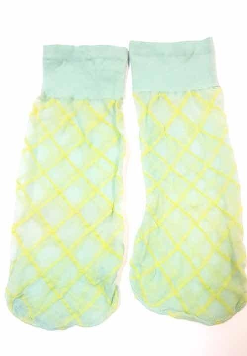 FORTE 82 zielone skarpetki w żółte romby, cienkie