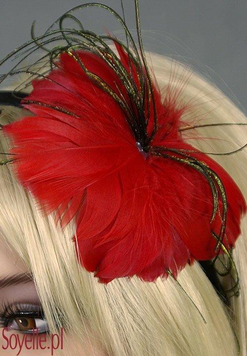 Opaska 038 stroik z piórek różne kolory czerwony, czarny, granatowy, brązowy, zielony