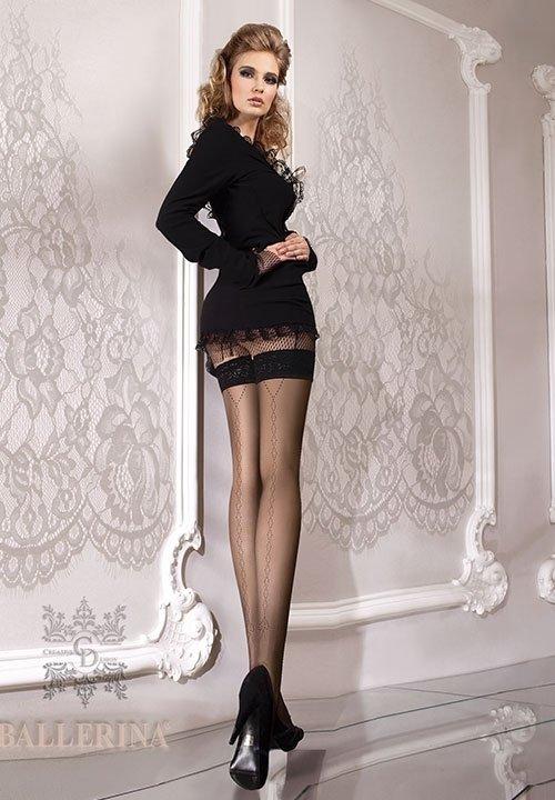 BALLERINA 071 czarne pończochy ze wzorem z tyłu nóg