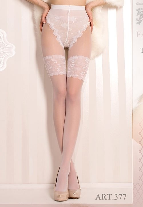 BALLERINA 377 rajstopy ślubne, imitacja pończoch, białe lub ecri